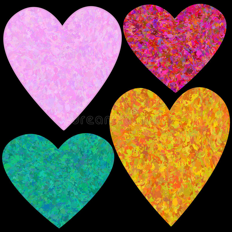 Grungy geplaatste harten stock illustratie