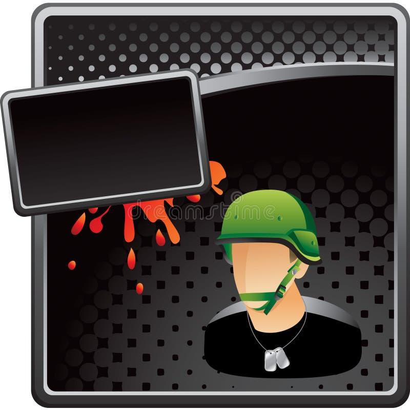 Grungy Halbtonanzeige des Militärsoldatschwarzen stock abbildung