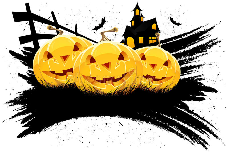 Grungy Halloween background with pumpkins royalty free stock images
