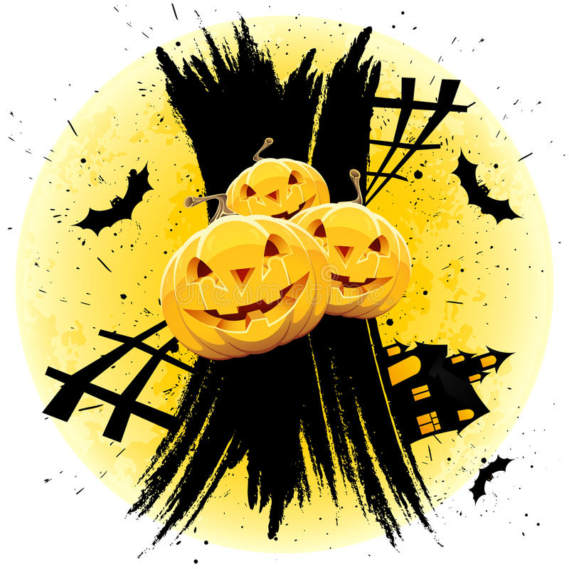 Grungy Halloween background with pumpkins stock photos