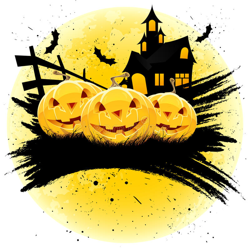 Grungy Halloween background with pumpkins royalty free stock photography