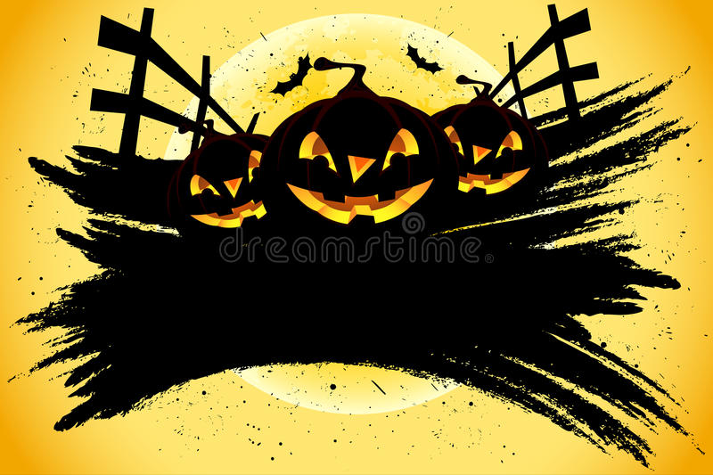 Grungy Halloween background with pumpkins and bats stock image