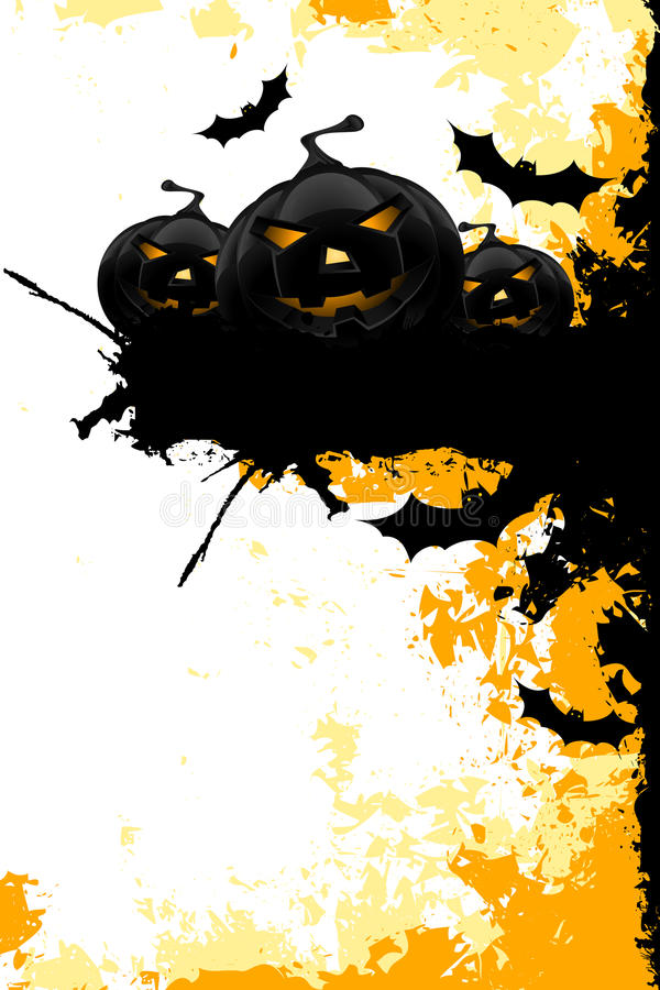 Grungy Halloween background with pumpkins and bats stock photo
