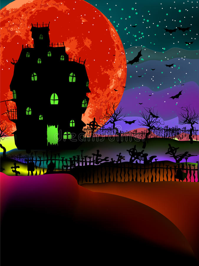 Download Grungy Halloween With Haunted House. EPS 8 Stock Vector - Illustration of haunted, celebration: 19837163