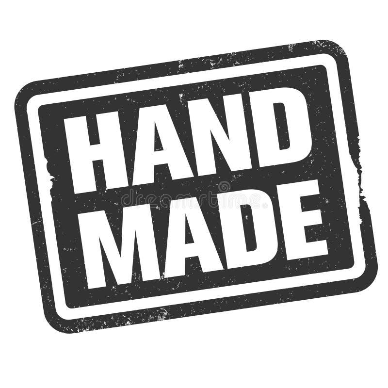 Grungy HANDMADE - pictogram of symbool voor afdruk van rubberen stempel stock illustratie