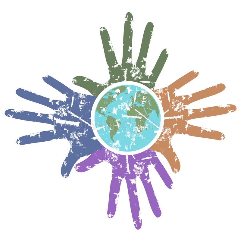 Grungy hands around the earth royalty free illustration