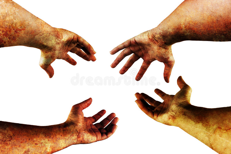 Grungy hands on white. Very detailed grungy hands isolated on white royalty free stock photo