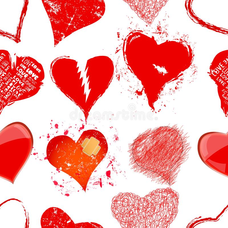 Grungy hearts and love seamless background texture, vector stock illustration