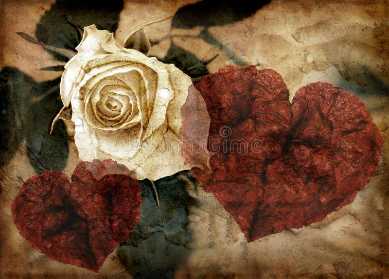 Grungy hearts and rose royalty free illustration