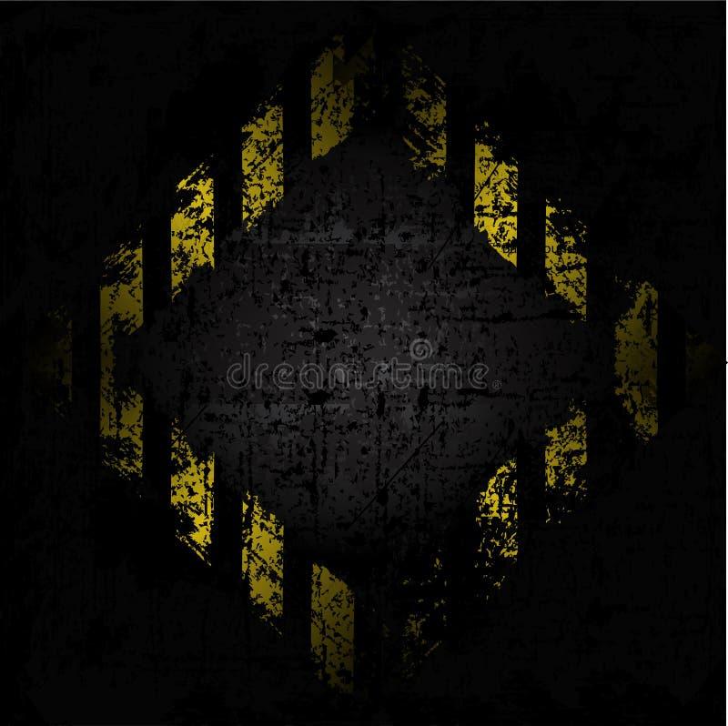 Grungy Hintergrundbeschaffenheit des Vektors der alten Wand mit Diamantdesign mit den schwarzen und gelben Linien vektor abbildung