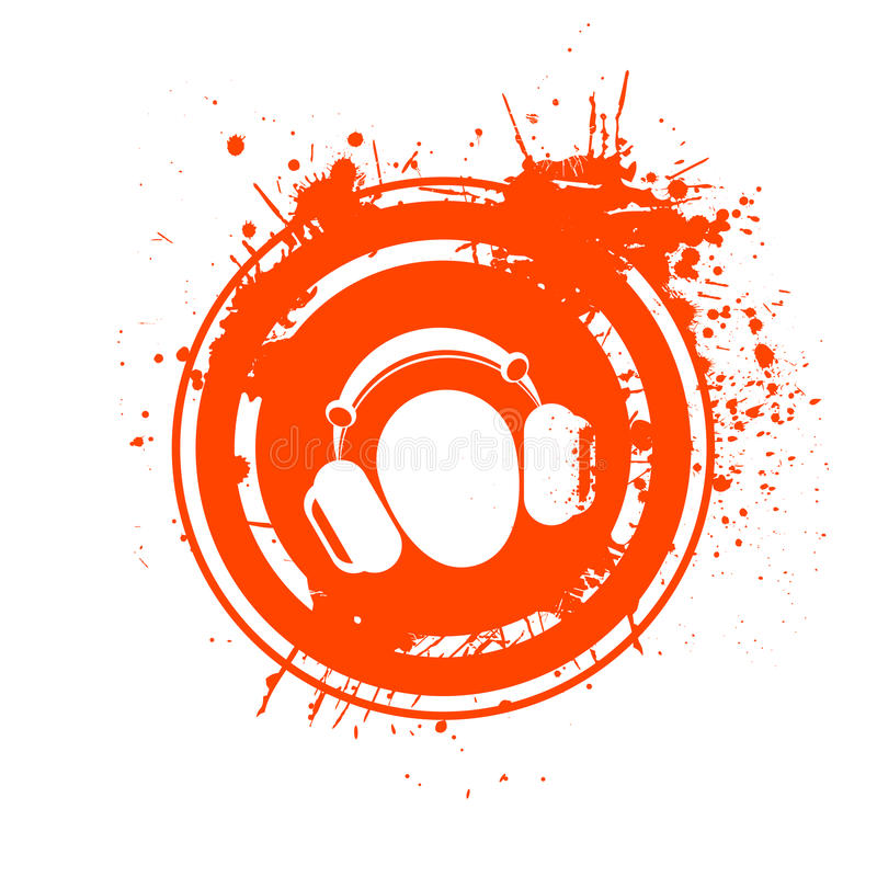 Grungy hoofdtelefoonszegel stock illustratie