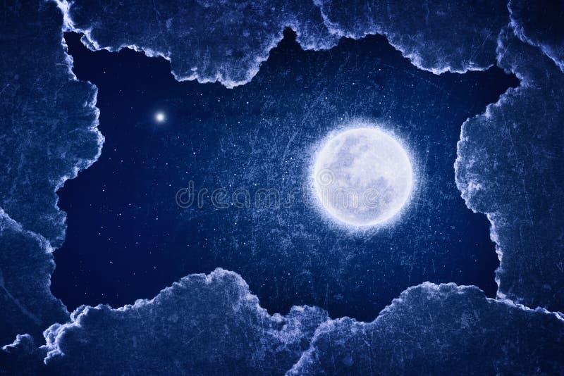 Grungy illustration av fullmånen arkivfoto