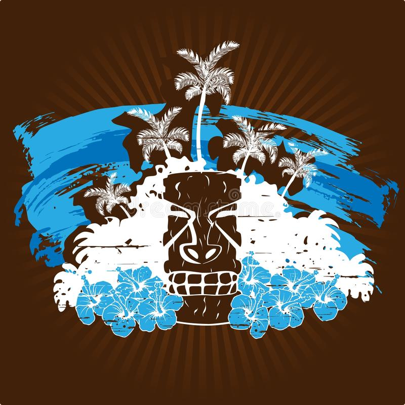 Download Grungy Illustration With Tiki Statue In Cool Tones Stock Images - Image: 15379944