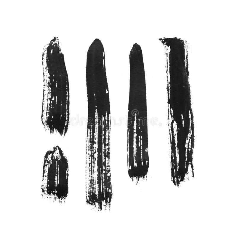Grungy ink brush stroke on white background. Freehand ink line handdrawn illustration. Ink line blot. Bristle brush for hand-drawn lettering or chinese vector illustration