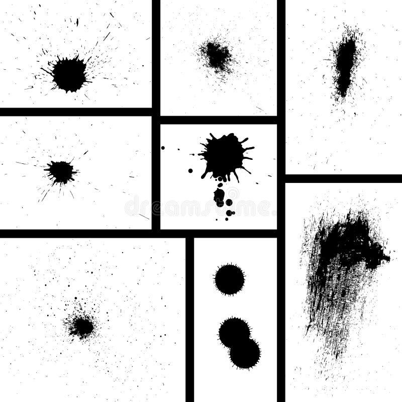 Grungy ink splash or splatter set