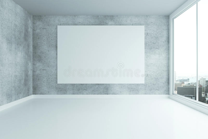Grungy interior with billboard. Grungy concrete interior with blank billboard and city view. Mock up, 3D Rendering royalty free illustration