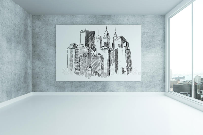 Grungy interior with city sketch. Grungy concrete interior with city sketch on billboard and panoramic window. 3D Rendering stock illustration