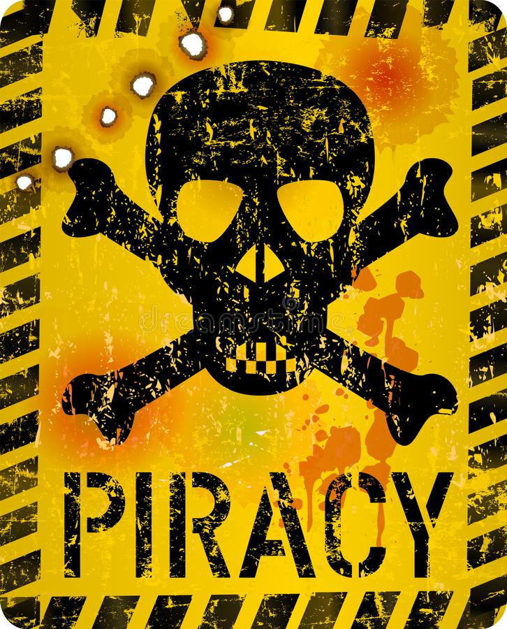 Grungy Internet-piraterijwaarschuwingsbord, vectorillustratie royalty-vrije illustratie