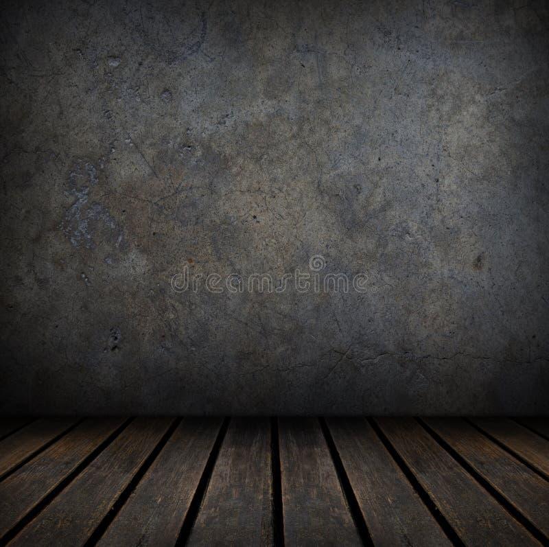 Grungy konkrete und hölzerne Wand und Boden. stock abbildung