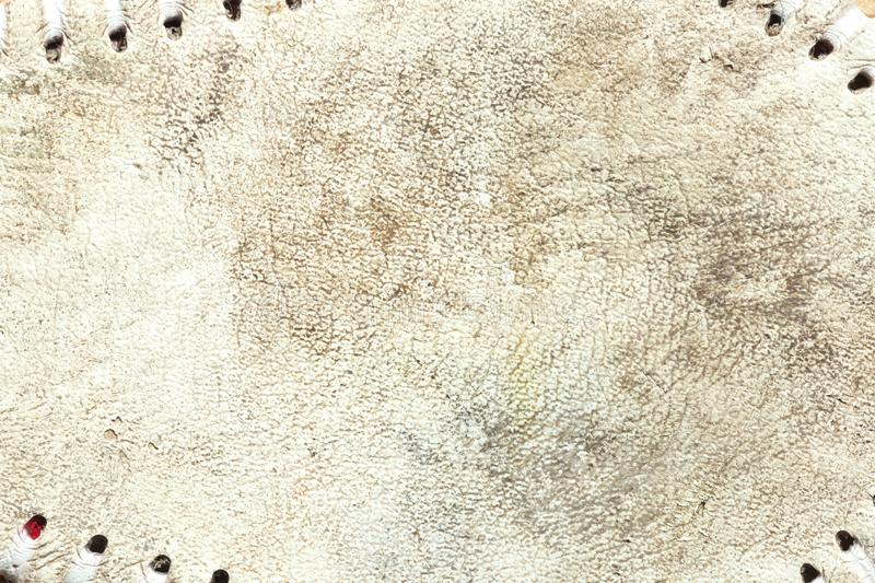 Grungy leather texture of a used baseball. Close up of the grungy leather texture of a used baseball stock image