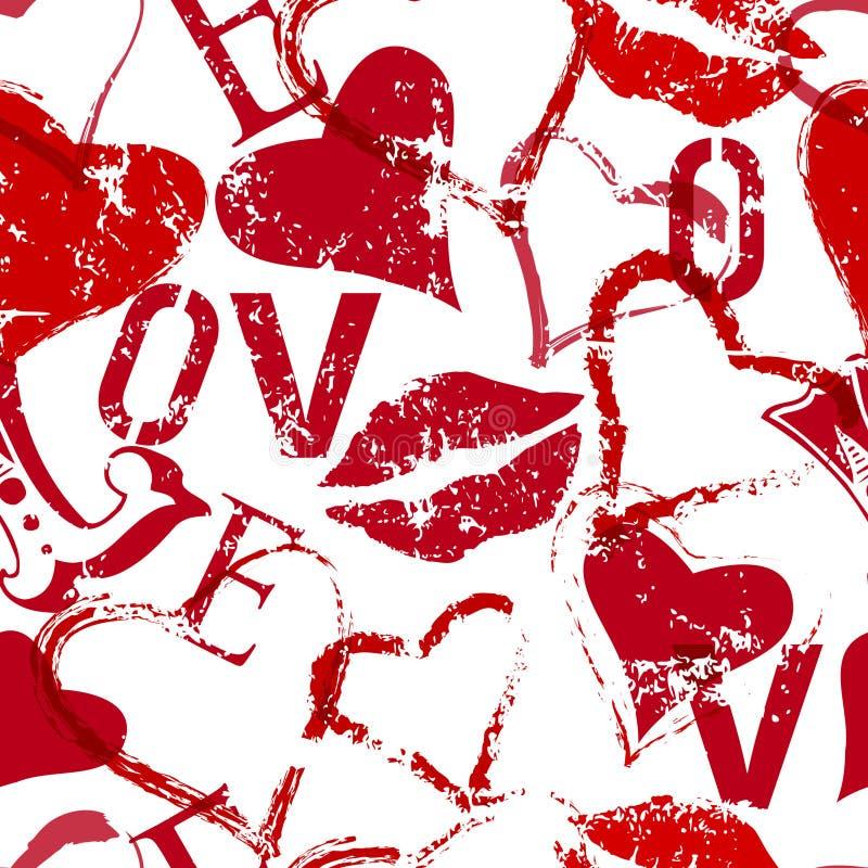 Grungy liefde naadloze textuur als achtergrond, vector vector illustratie