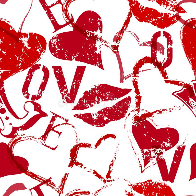Grungy love seamless background texture , vector vector illustration