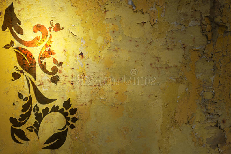 Grungy metal background with floral design royalty free stock photo