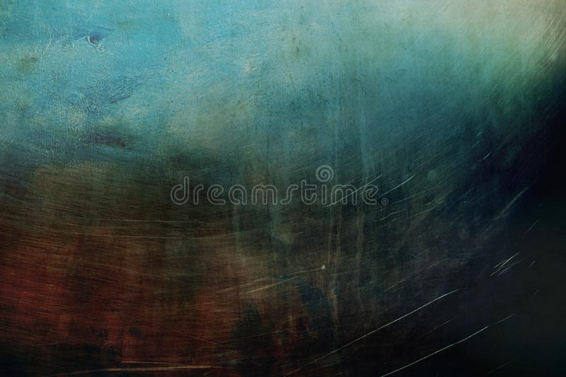 Grungy metallic wall background or texture. With dark vignette borders stock photo