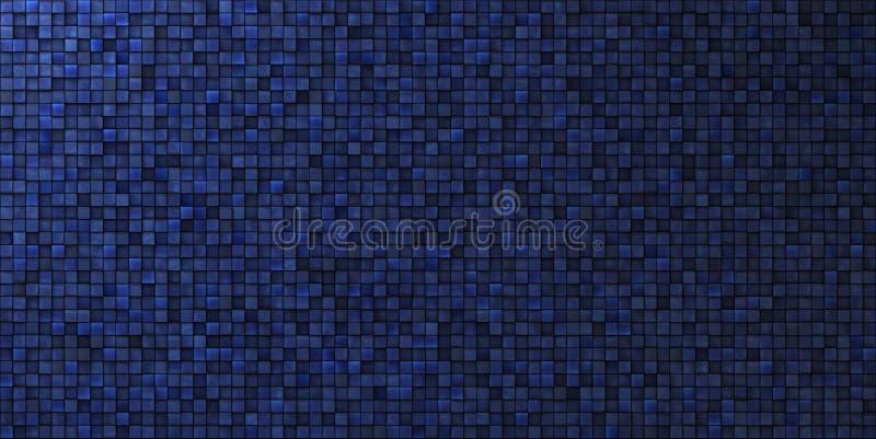 Grungy Mosaikwand im tiefen Blau stock abbildung