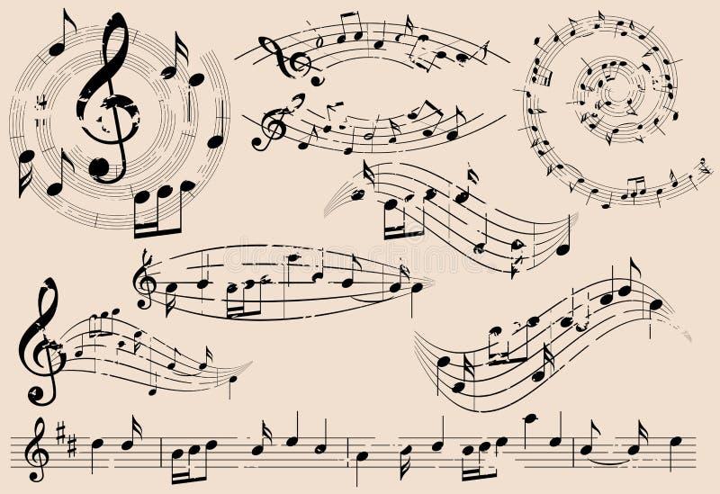 Grungy Musikgestaltungselemente mit Anmerkungen - Satz stock abbildung