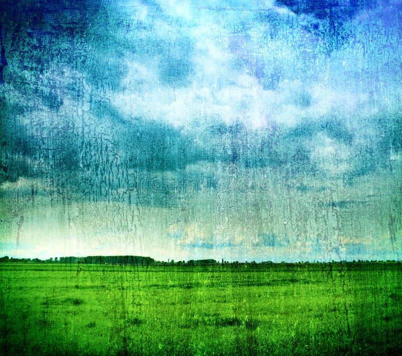 Grungy Naturhintergrund - Gras und bewölkter Himmel lizenzfreie stockfotos