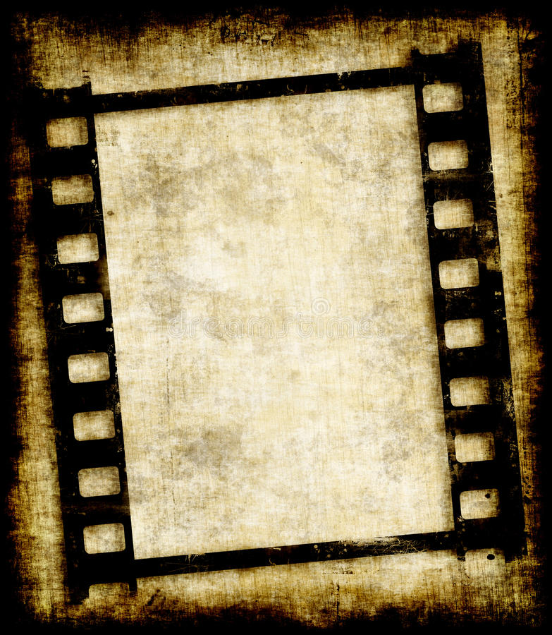 Grungy negatieve filmstrook of foto stock illustratie