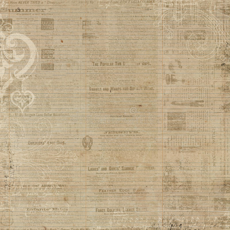 Grungy newspaper antique brown background royalty free stock images
