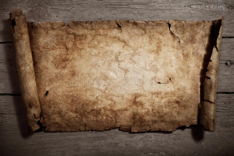 Grungy old paper. Old parchment on an old wooden background.Textured background vector illustration