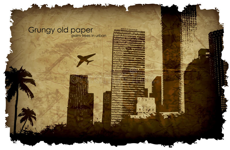 Grungy, old paper with a big city and windmills. royalty free illustration