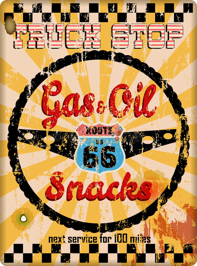 Free Grungy Old Route 66 Truck Stop Sign Stock Photography - 97752262