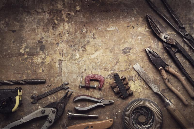 Download Grungy old tools stock photo. Image of craft, plank - 114726904