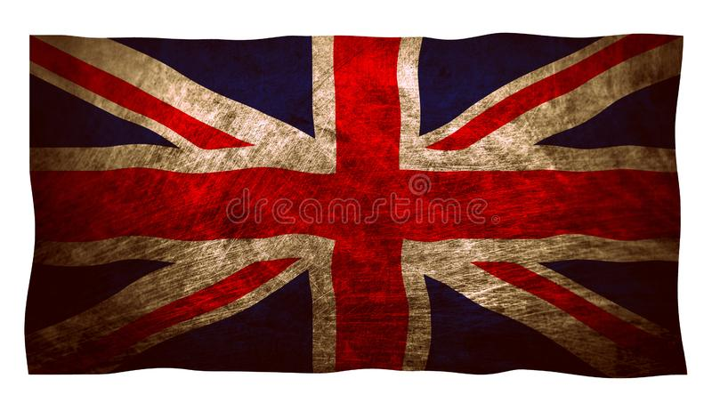 Grungy old vintage Union Jack UK United Kingdom flag. The terms Union Jack and Union Flag are both historically correct for describing the national flag of the stock illustration