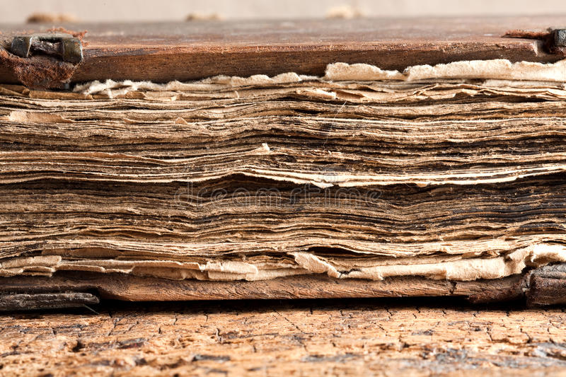Grungy pages of old book royalty free stock photo