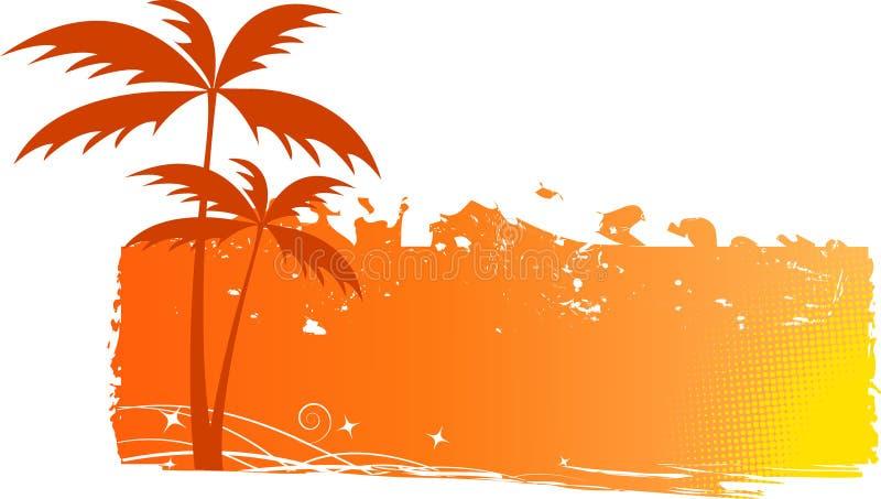 grungy palmträd för bakgrund stock illustrationer