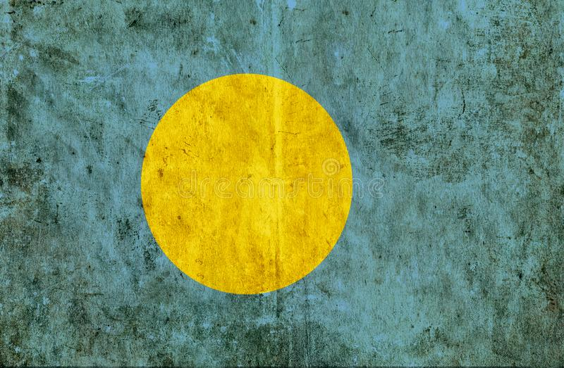Grungy paper flag of Palau vector illustration