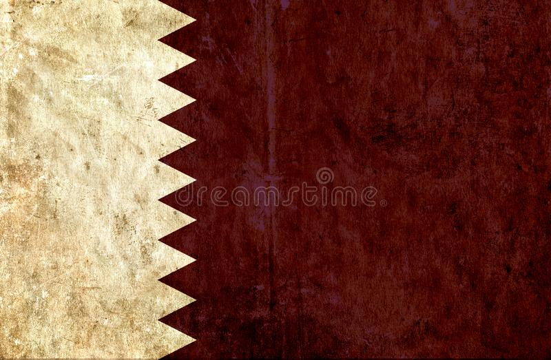 Grungy paper flag of Qatar stock illustration