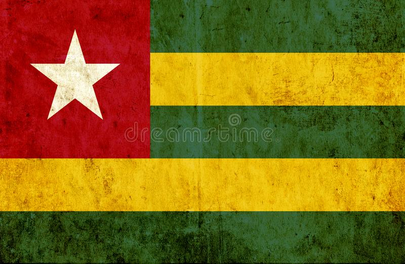 Grungy paper flag of Togo vector illustration