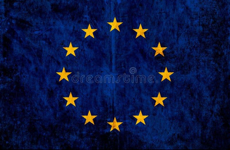 Grungy papier flaga unia europejska royalty ilustracja