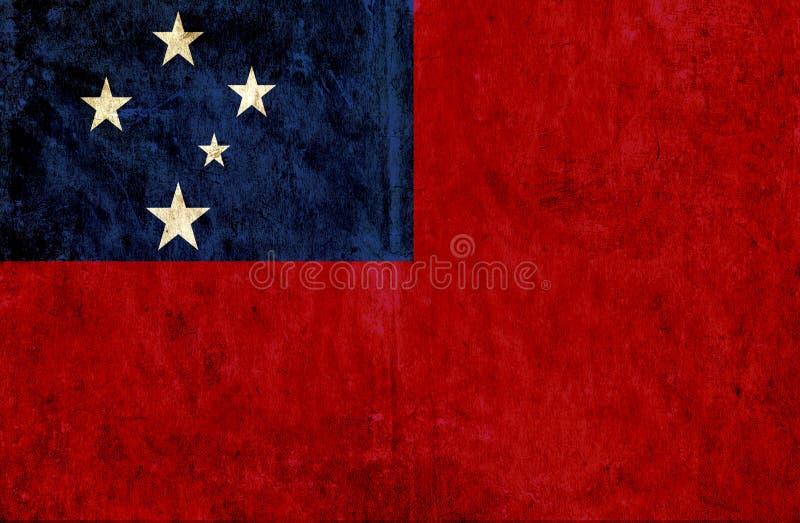 Grungy pappers- flagga av Samoa royaltyfri illustrationer