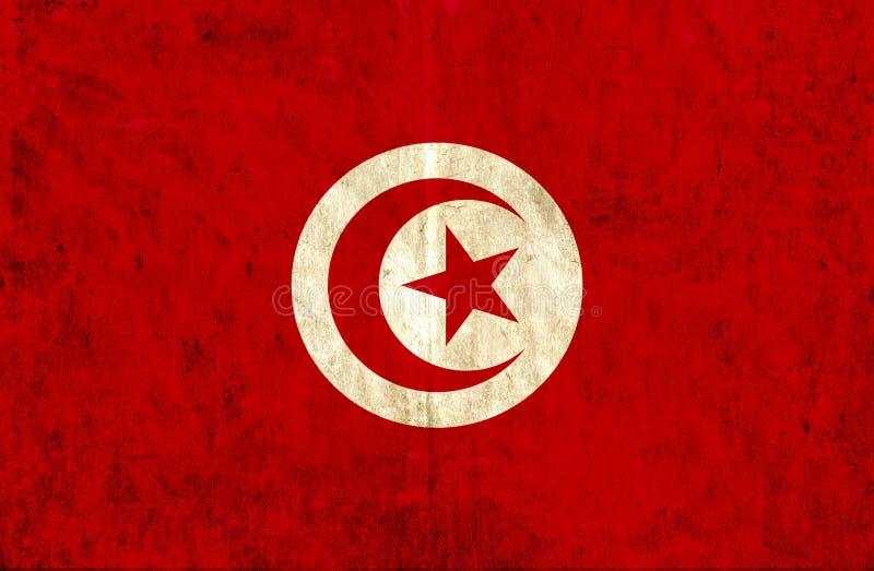 Grungy pappers- flagga av Tunisien stock illustrationer
