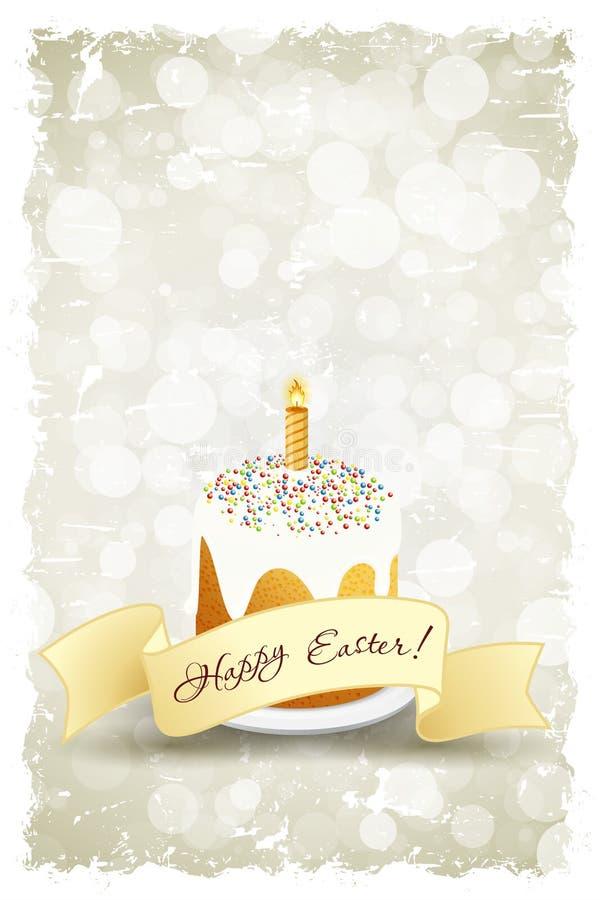 Grungy Pasen-Achtergrond met Verfraaide Cake vector illustratie