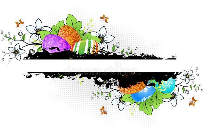 Grungy Pasen-Achtergrond met Verfraaide Eieren vector illustratie
