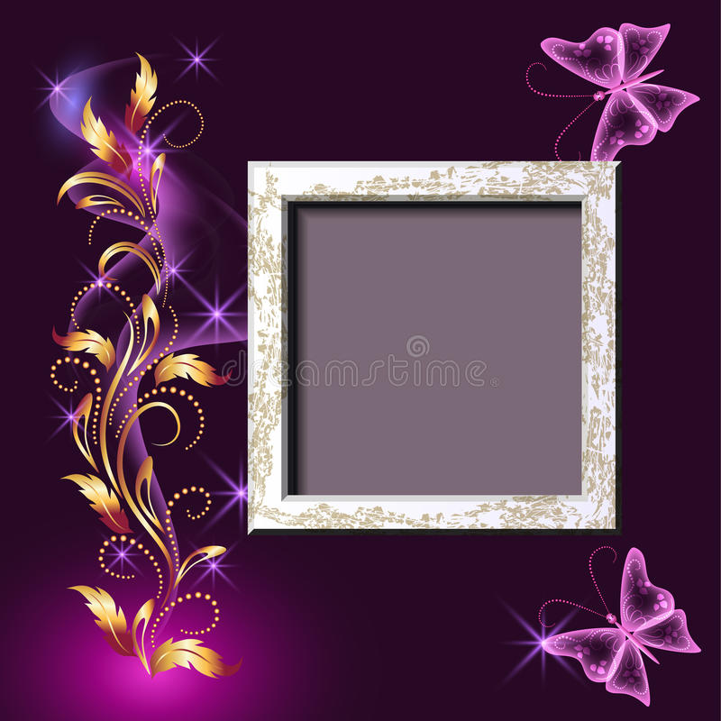 Grungy photo frame and butterflies royalty free illustration