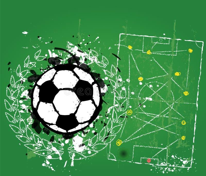 Grungy piłka nożna o futbolowy illustratio ilustracji